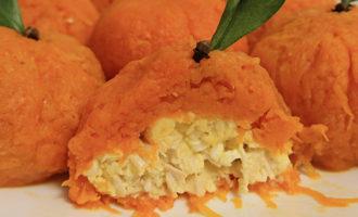 Закуска Мандаринки с курицей и сыром